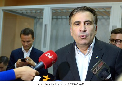 Leader of Ukrainian opposition Mikheil Saakashvili giving an interview after he was released from the courtroom of Pechersky district court. December 11, 2017. Kiev, Ukraine.