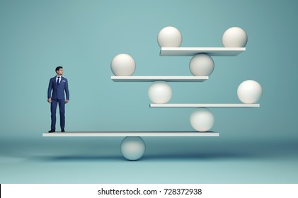 Leadership balancing the team - business man and spheres in balance - complex strategy concept - 3d render ilustration