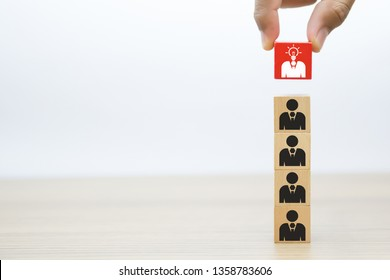 Leadership and Business Wood Block Concept.