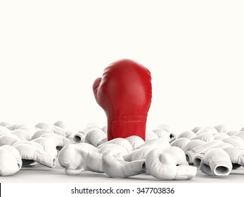 leadership concept with 3d rendered red boxing glove