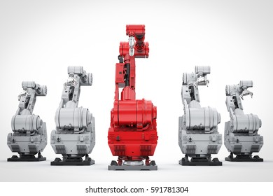 leadership concept with 3d rendering red robotic arm as a leader