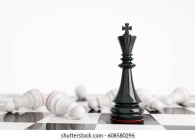 Leadership concept with black king and white pawns in white background. 3d rendering. Illustration. Black wins