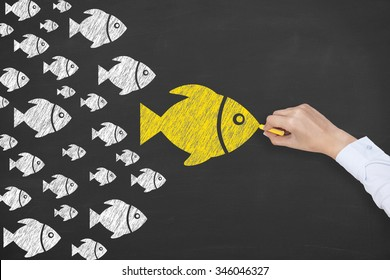Leadership Concept Fish on Chalkboard