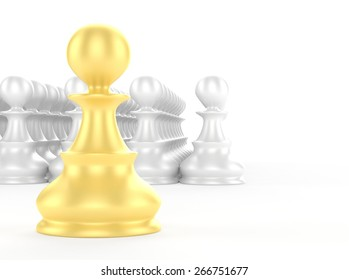 leadership concept gold pawn forward white pawns team group