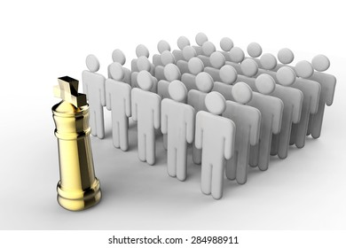 leadership concept with golden chess king and team of workers