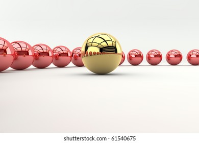 Leadership concept with golden sphere and many red spheres