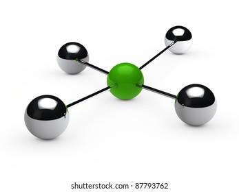 Leadership concept with green sphere and chrome