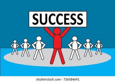Leadership Concept: Leader with success placard and follow by teamwork