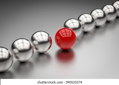 leadership concept with red ball illustration