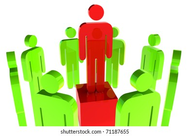 Leadership concept with red character in the middle of green character