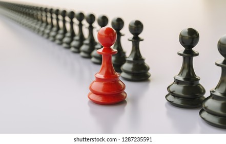 Leadership concept, red pawn of chess, standing out from the crowd of blacks
