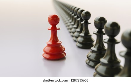 Leadership concept, red pawn of chess, standing out from the crowd