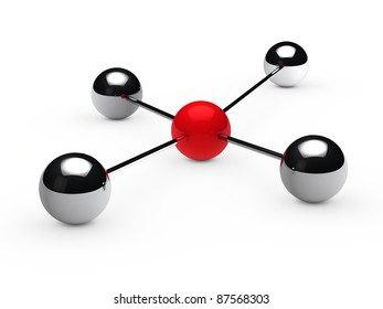 Leadership concept with red sphere and chrome