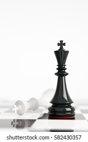 Leadership concept with white and black chess kings in white background. 3d rendering. Illustration. Black wins