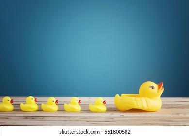 leadership concept yellow rubber duck leading group