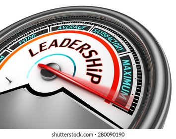 Leadership conceptual meter indicate maximum, isolated on white background
