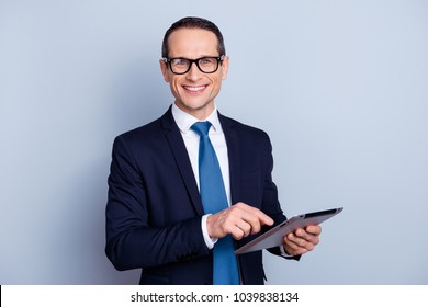 Leadership corporate collar executive chief occupation people person freelance entrepreneur concept. Portrait of clever confident smart friendly joyful employee using pda isolated on gray background