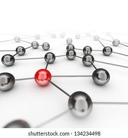 Leadership network. 3d render image