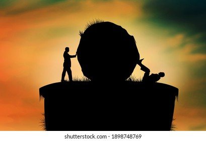 Leadership rivalry between two businessmen pushing a boulder against each other to eliminate from competition. Business war concept, opponent liquidation. Political clash, struggle and conflict.