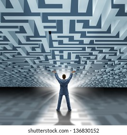 Leadership skills with a successful business man lifting a three dimensional maze or labyrinth as a business concept of overcoming adversity and breaking free with a new creative solution.