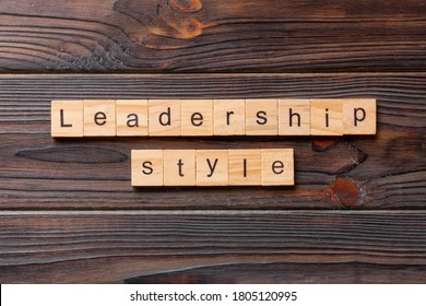 LEADERSHIP STYLE word written on wood block. LEADERSHIP STYLE text on cement table for your desing, concept. - Shutterstock ID 1805120995