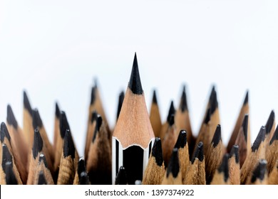 Leadership successful team leader (manager, CEO, market leader) and another business leading concepts. Standing out from the crowd. Pencil that represents leadership.