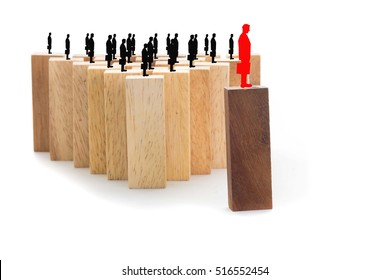 Leadership and team abstract business concept, wooden block on white background, select focus.