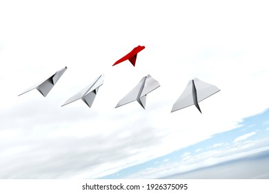 Leadership, teamwork and courage concept, red paper airplane for the leader and white paper airplanes fly to the skies. 3D model