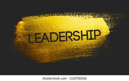 Leadership Text on Golden Brush Dark Background