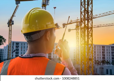 Leadership is very necessary for being a leader,Construction work needs certainty,precision,Engineers are in control use communication tools,Heavy construction yellow crane for heavy lifting.
