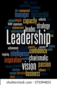 Leadership, word cloud concept on black background.