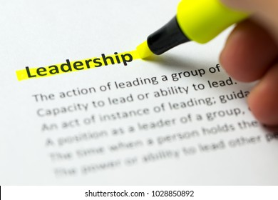 Leadership word highlighted in yellow color with a highlighter pen
