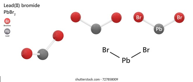 Lead(II) Bromide is the inorganic compound with the formula PbBr2 or Br2Pb. 3d illustration. The molecule is represented in different structures.