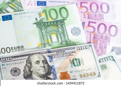 Leading currencies - US dollars and euro bancnotes. Bills. Money exchange. Money used for cash. Business background