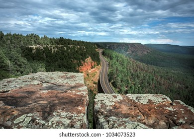The leading edge of the Colorado Plateau stands out as the Mogollon Rim in central Arizona. Standing several hundred feet above the Tonto Basin. below.