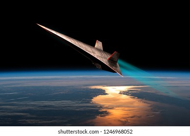 The leading edges of an unmanned scramjet glow from friction as it flys toward outer space near the edge of Earth's atmosphere. - Elements of this image courtesy of NASA