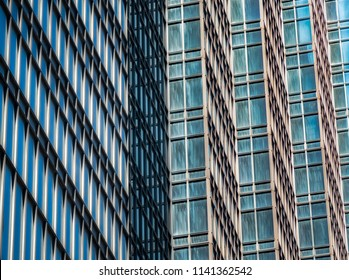 Leading lines of modern skyscraper with architectual detail.