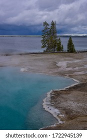 Leading lines in West Thumb Geyser Basin in Yellowstone National Park in Wyoming, USA.