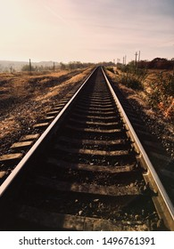 leading railway into the distance