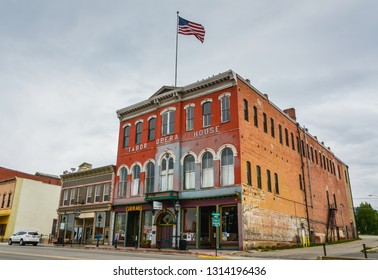 Leadville, CO / USA - 09-03-2014: Built in 1879 by Horace Austin Warner Tabor, Tabor Opera House was one of the most costly and most substantially-built structures in Colorado history.