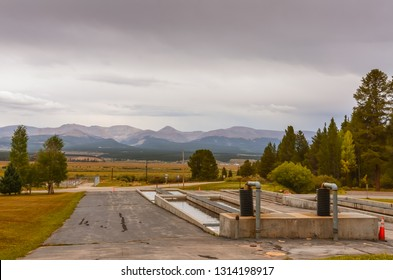 Leadville, CO / USA - 09-03-2014: Concrete pools used to rear fish to a size large enough to release for stocking at second-oldest operating national fish hatchery.
