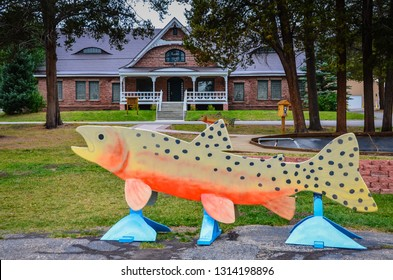 Leadville, CO / USA - 09-03-2014: Second-oldest operating national fish hatchery, and part of  network of field stations located throughout the nation to conserve fisheries.