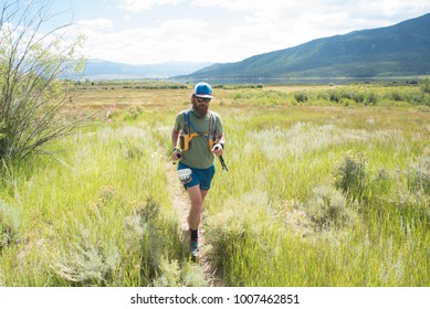 LEADVILLE, COLORADO USA - AUGUST 19, 2017: James Dean outbound from the Twin Lakes aid station during the Leadville Trail 100 Ultra, Leadville, Colorado, USA.