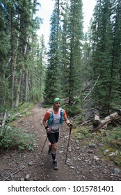 LEADVILLE, COLORADO USA - AUGUST 19, 2017: Martin Roman outbound from the Twin Lakes aid station during the Leadville Trail 100 Ultra, Leadville, Colorado, USA.