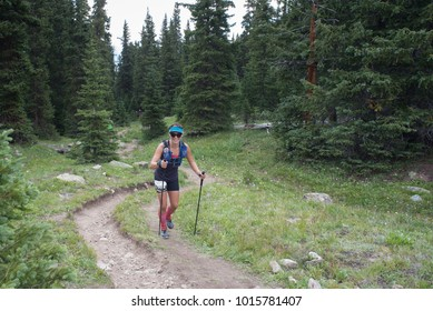 LEADVILLE, COLORADO USA - AUGUST 19, 2017: Veronica Gerhard outbound approaching the Hope Pass aid station during the Leadville Trail 100 Ultra, Leadville, Colorado, USA.