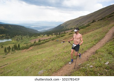 LEADVILLE, COLORADO USA - AUGUST 19, 2017: Michael Hewitt descending inbound from Hope Pass during the Leadville Trail 100 Ultra, Leadville, Colorado, USA.