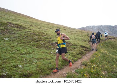LEADVILLE, COLORADO USA - AUGUST 19, 2017: Juan Moran descending inbound from Hope Pass during the Leadville Trail 100 Ultra, Leadville, Colorado, USA.