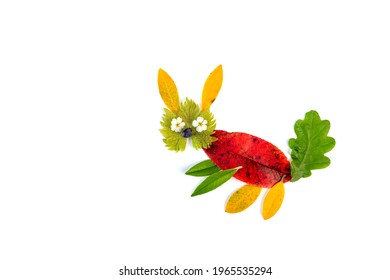 Leaf autumn craft on white background. Beautiful nature clip art for kids.