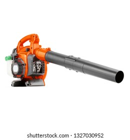 Leaf Blower Isolated on White Background. Orange Garden Tool Powered by Gasoline Motor Side View. Patio Cleaning Equipment