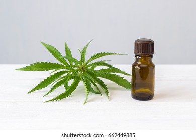 leaf of cannabis and a bottle of hemp oil